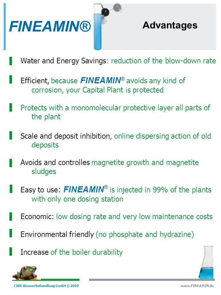FINEAMIN® Advantages. Water and Energy Savings: reduction of the blow-down rate.