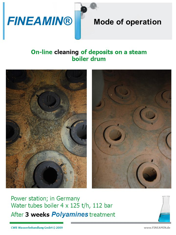 On-line cleaning of deposits on a steam boiler drum