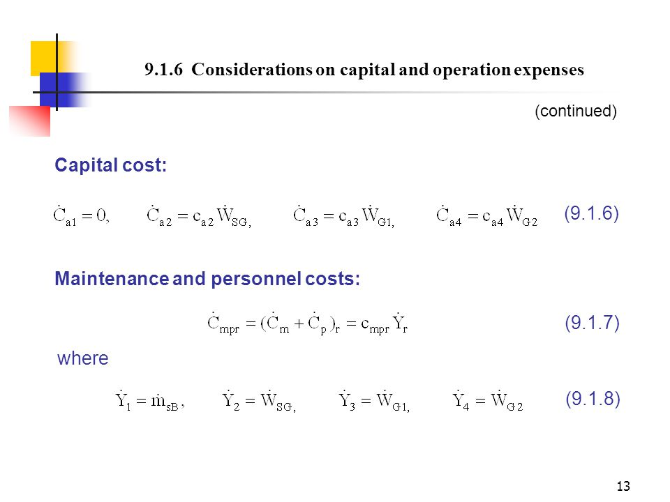 9.1.6 Considerations on capital and operation expenses