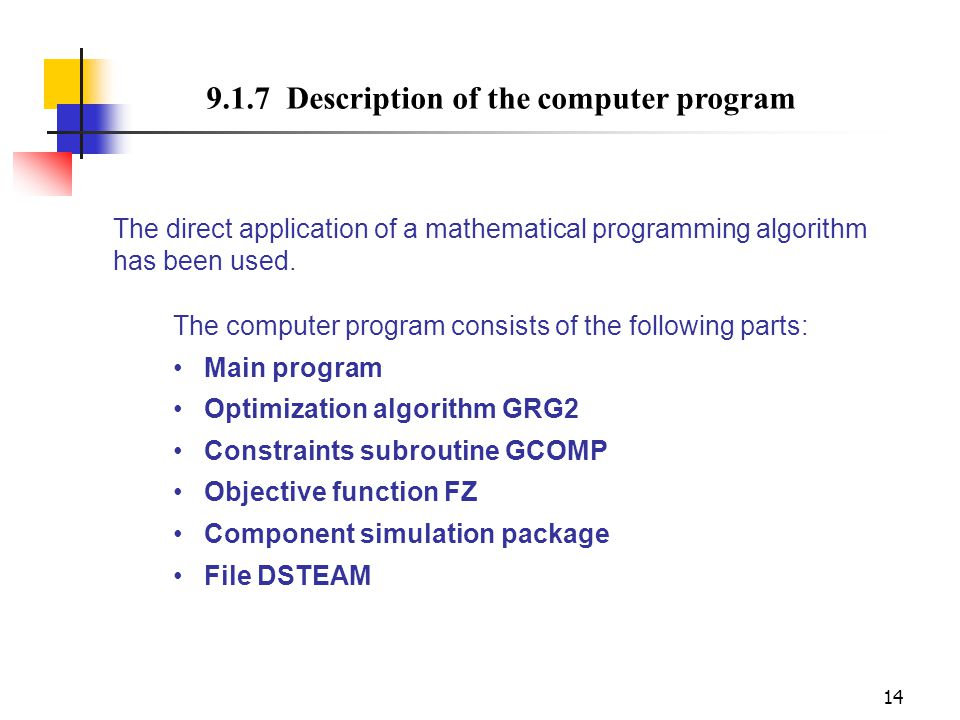 9.1.7 Description of the computer program