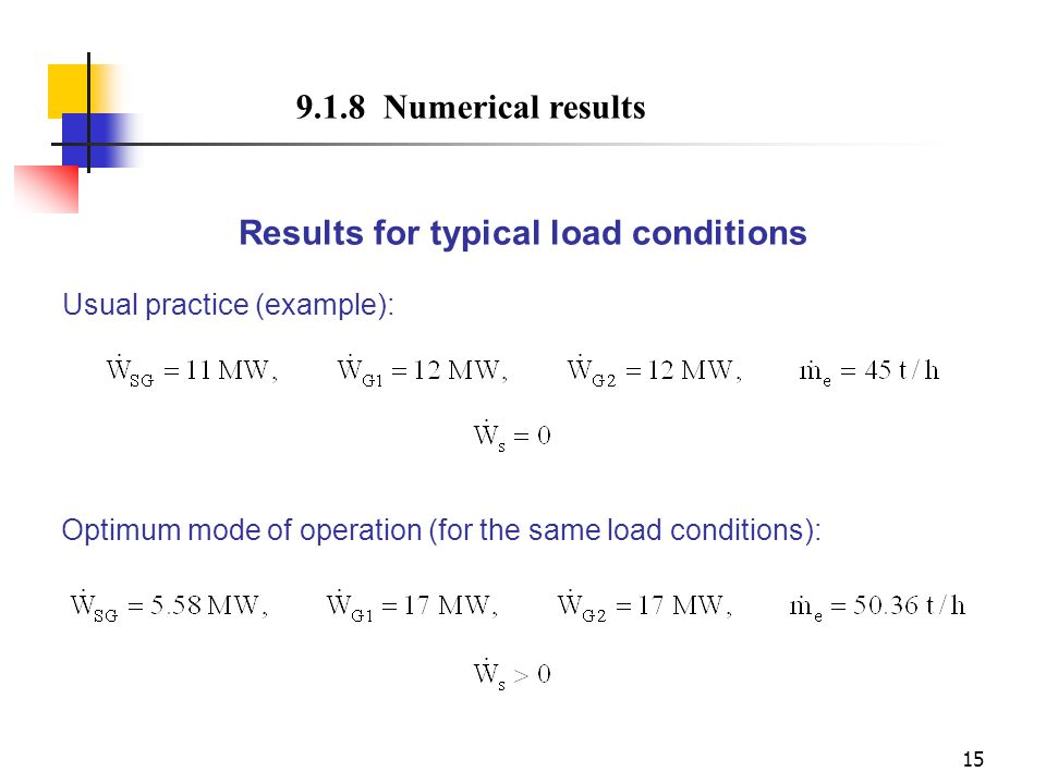 Results for typical load conditions