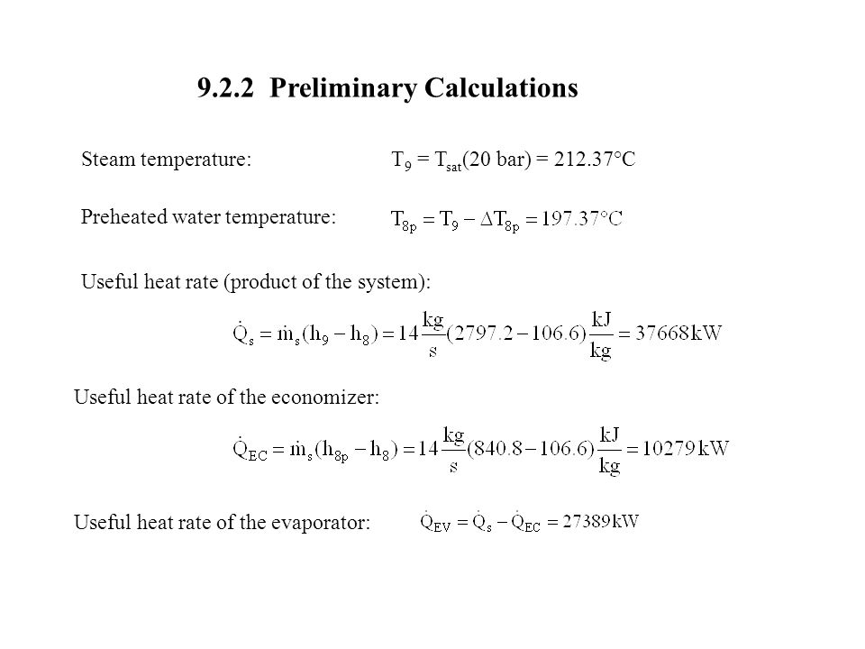 9.2.2 Preliminary Calculations