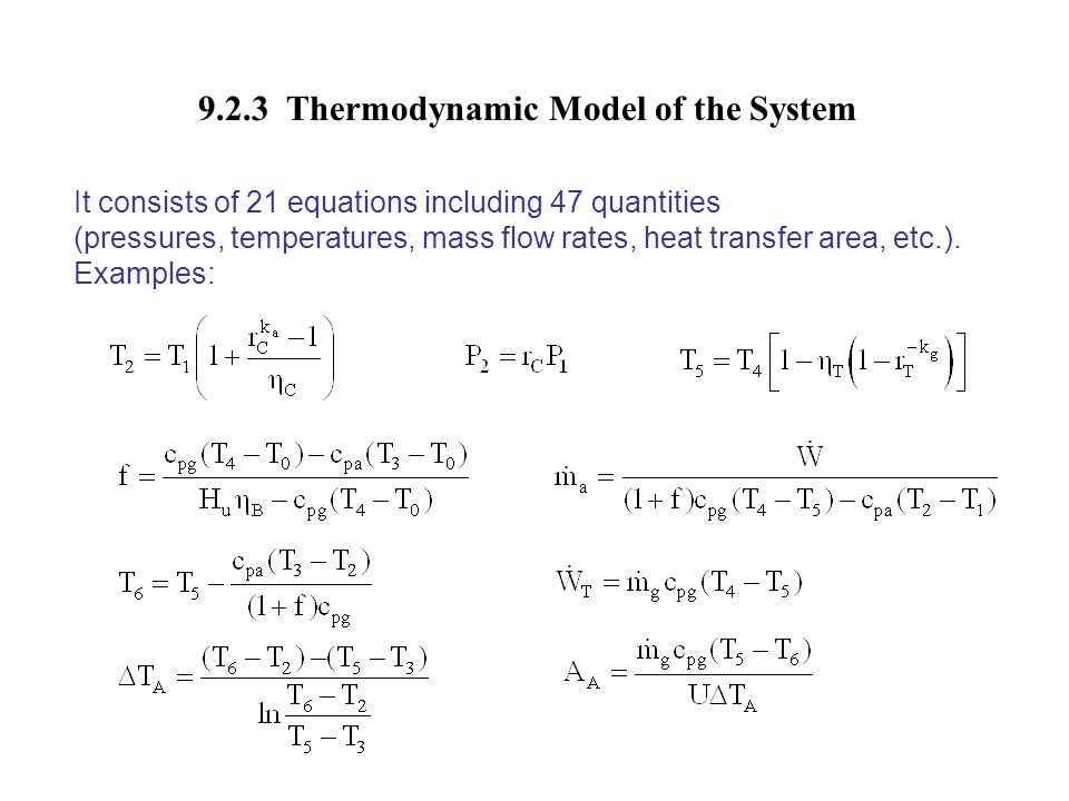 9.2.3 Thermodynamic Model of the System