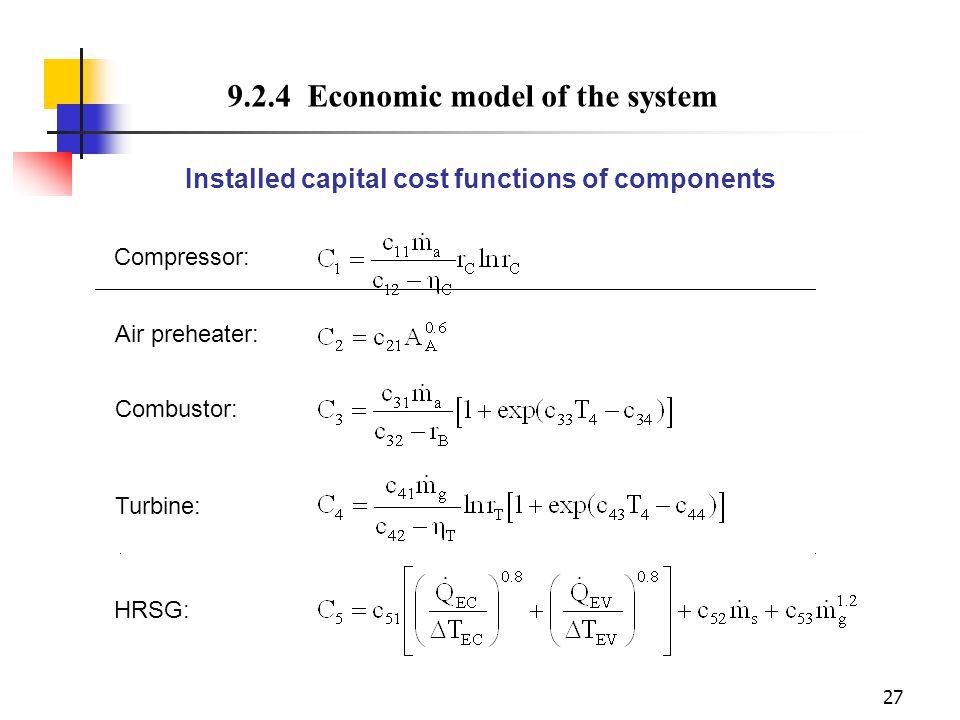 Installed capital cost functions of components