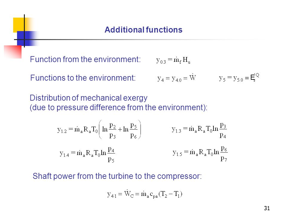 Additional functions Function from the environment: Functions to the environment: Distribution of mechanical exergy.