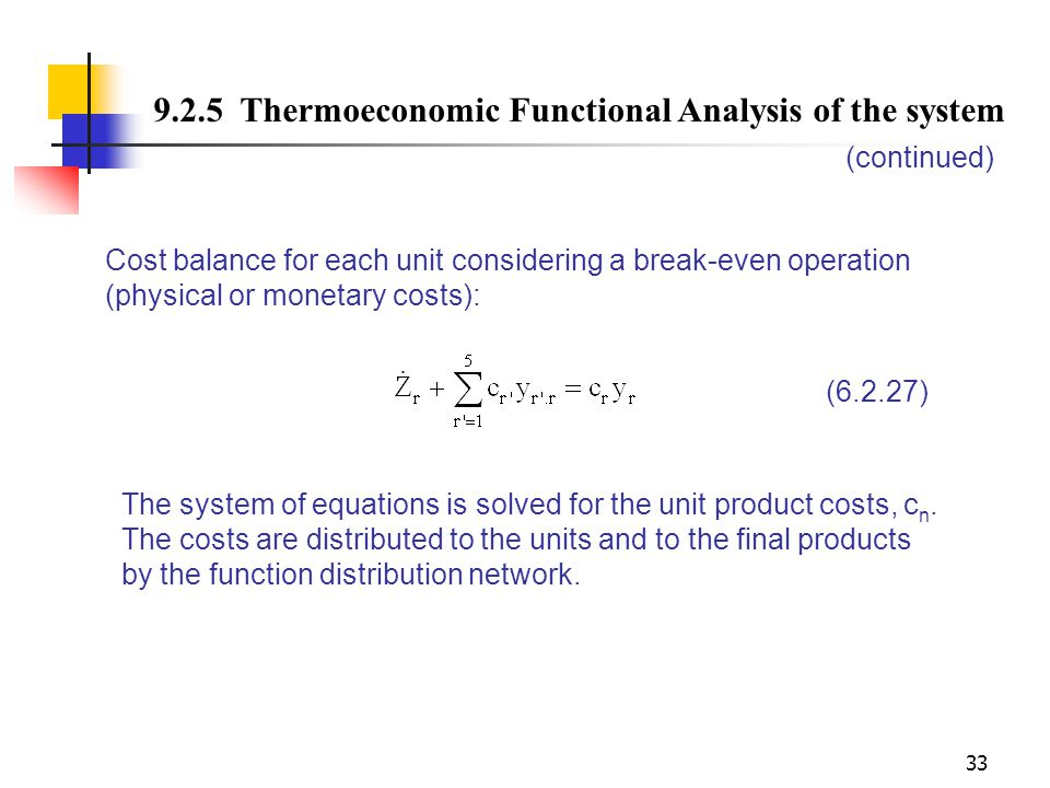 9.2.5 Thermoeconomic Functional Analysis of the system