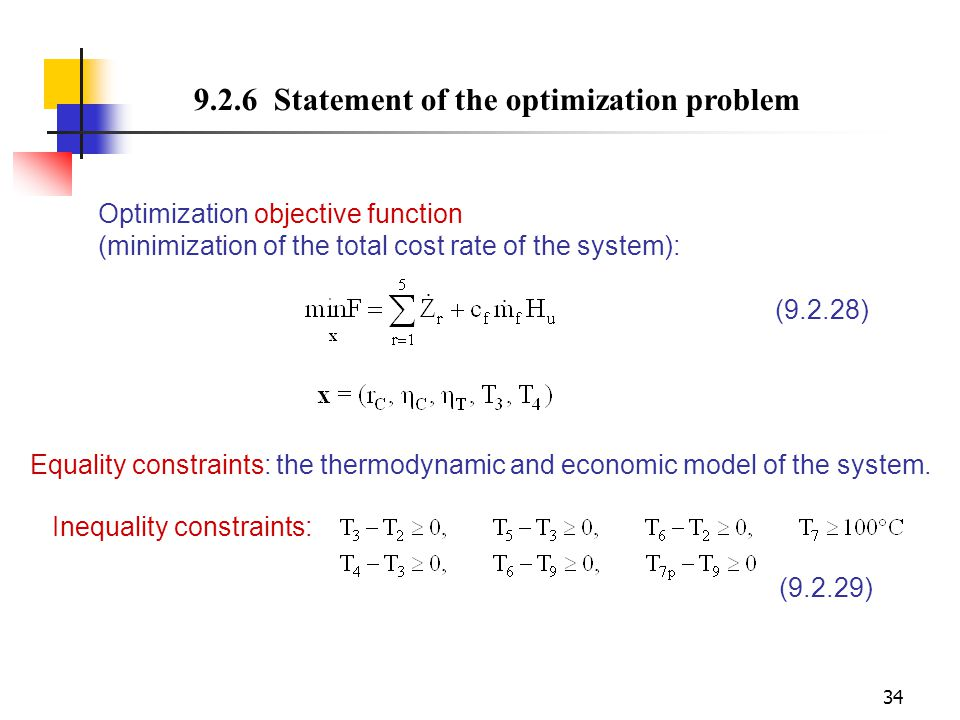 9.2.6 Statement of the optimization problem