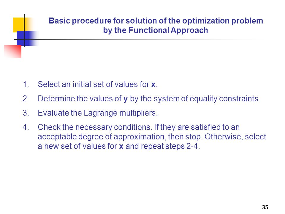 Basic procedure for solution of the optimization problem