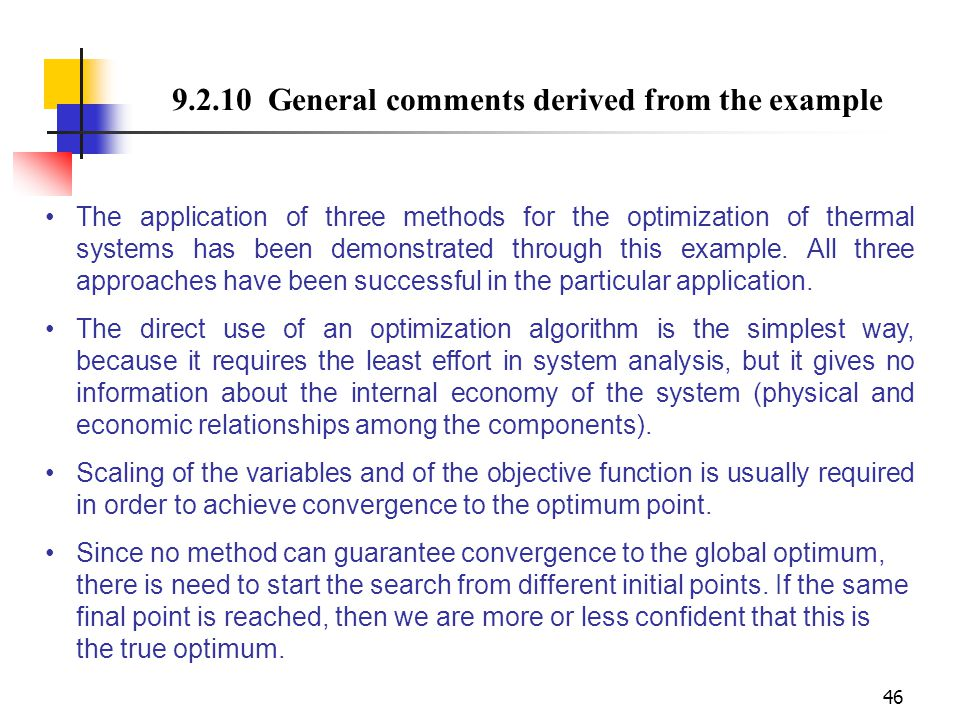 9.2.10 General comments derived from the example