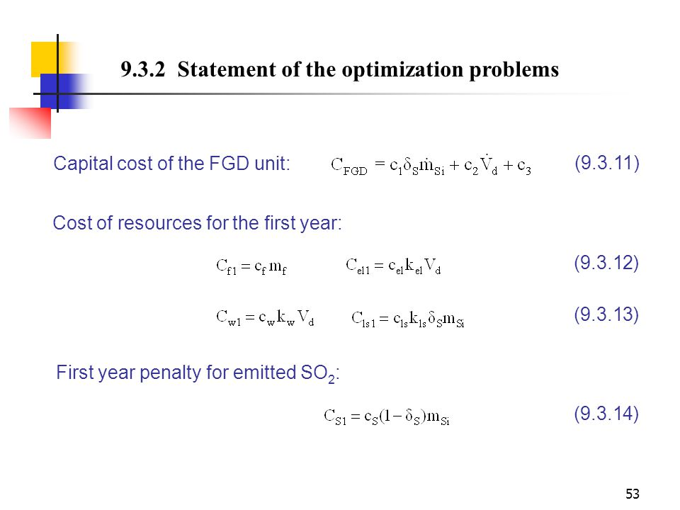 9.3.2 Statement of the optimization problems