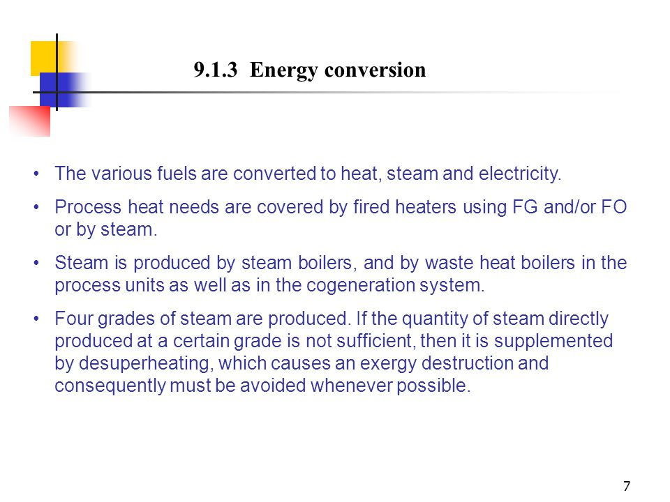 9.1.3 Energy conversion The various fuels are converted to heat, steam and electricity.