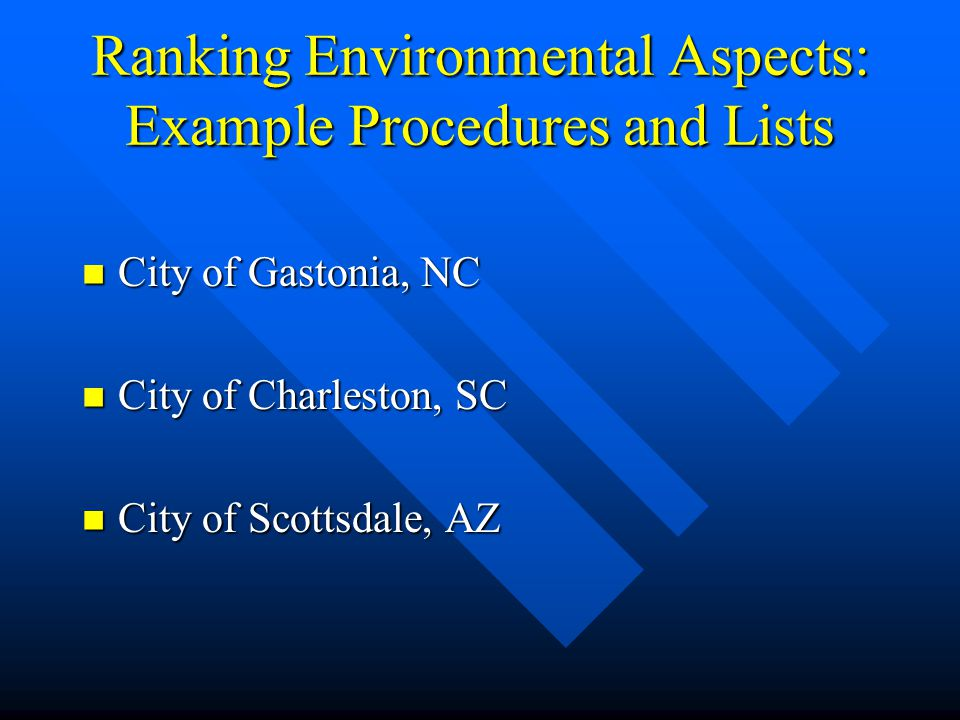 Ranking Environmental Aspects: Example Procedures and Lists