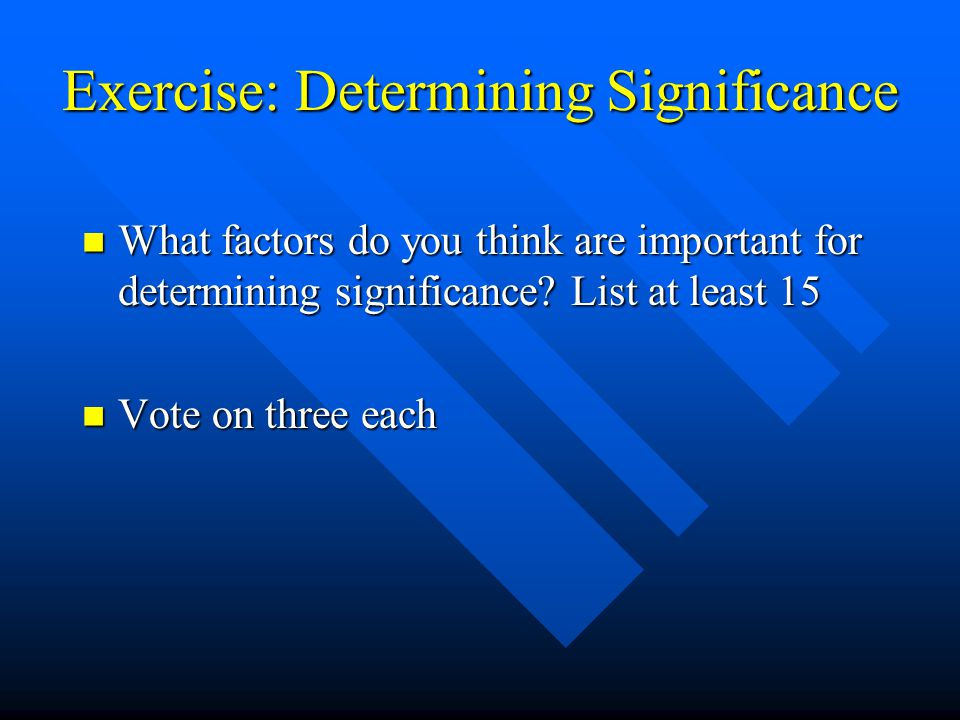 Exercise: Determining Significance