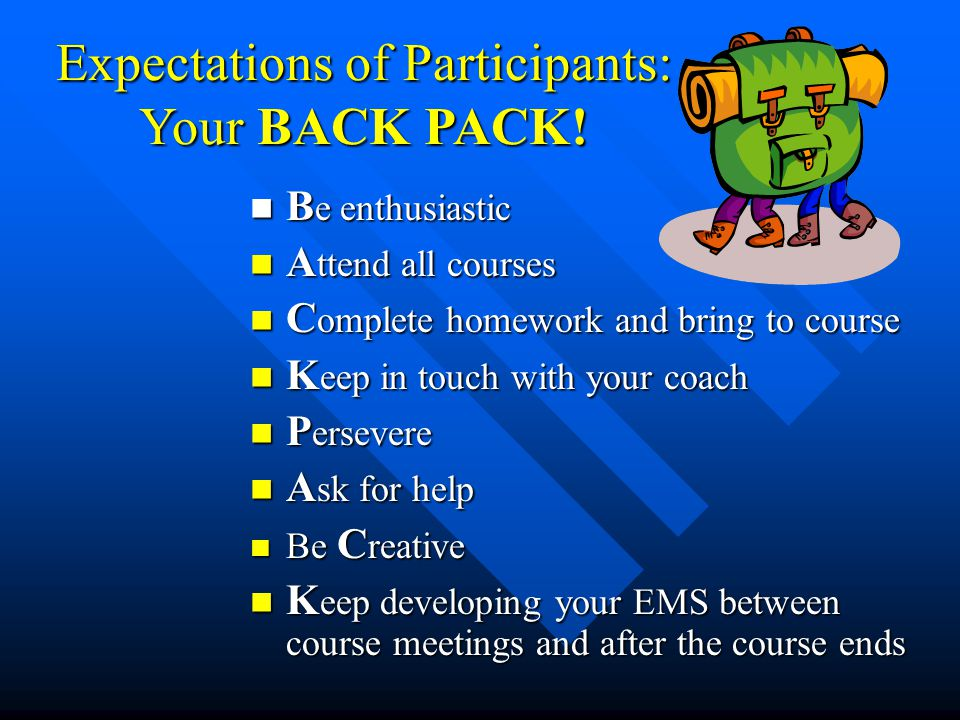 Expectations of Participants: Your BACK PACK!