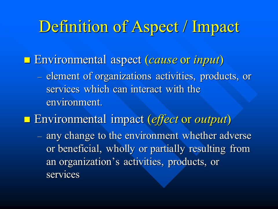 Definition of Aspect / Impact