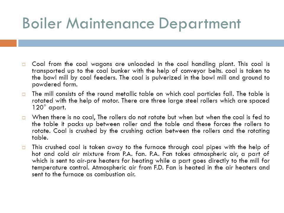 Boiler Maintenance Department
