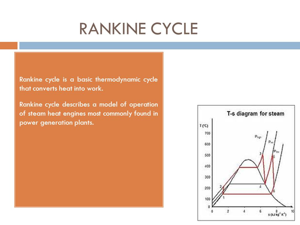 RANKINE CYCLE Rankine cycle is a basic thermodynamic cycle that converts heat into work.