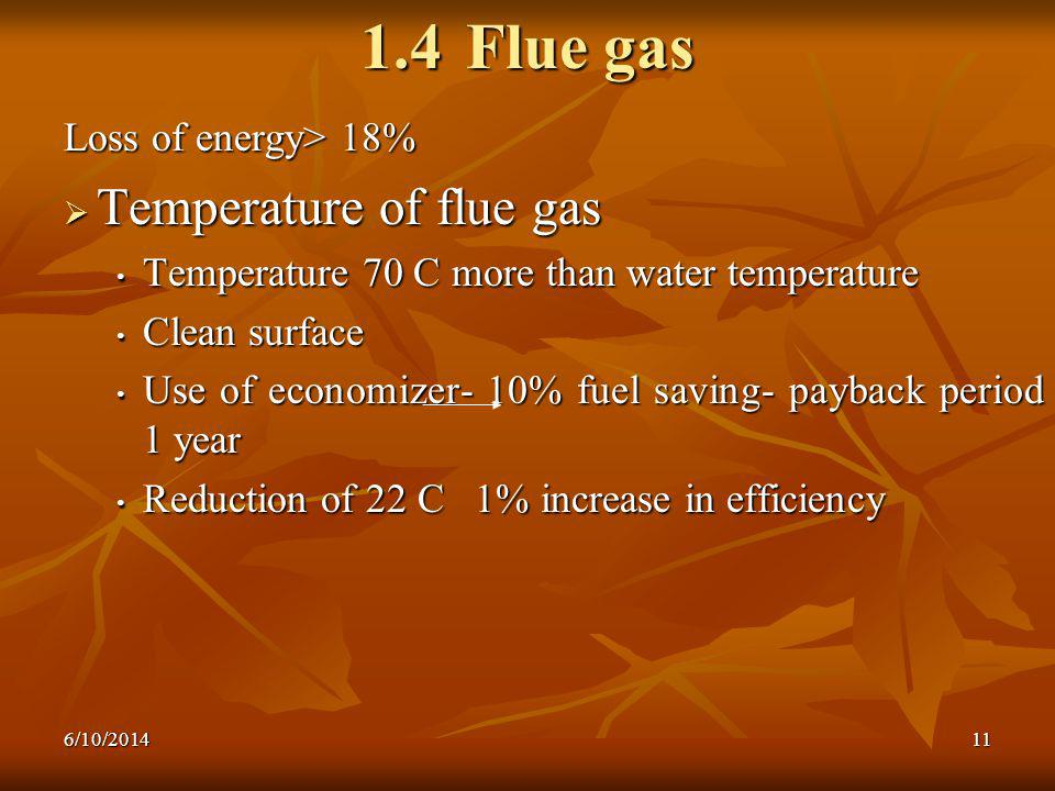 1.4 Flue gas Temperature of flue gas Loss of energy> 18%