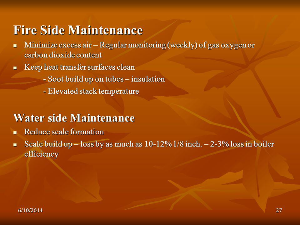 Fire Side Maintenance Water side Maintenance