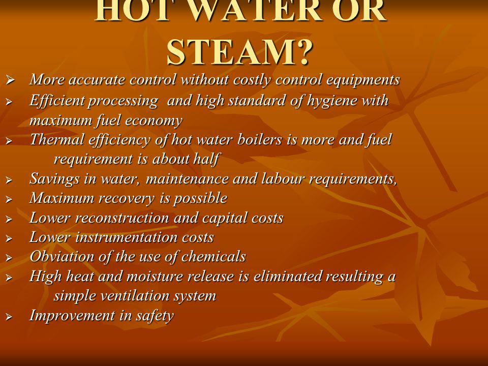HOT WATER OR STEAM More accurate control without costly control equipments.