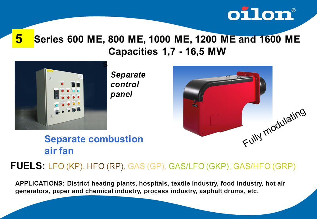 5 Series 600 ME, 800 ME, 1000 ME, 1200 ME and 1600 ME Capacities 1,7 - 16,5 MW. s. Separate control panel.