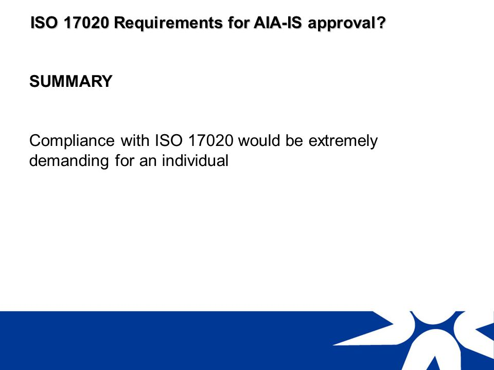 ISO 17020 Requirements for AIA-IS approval