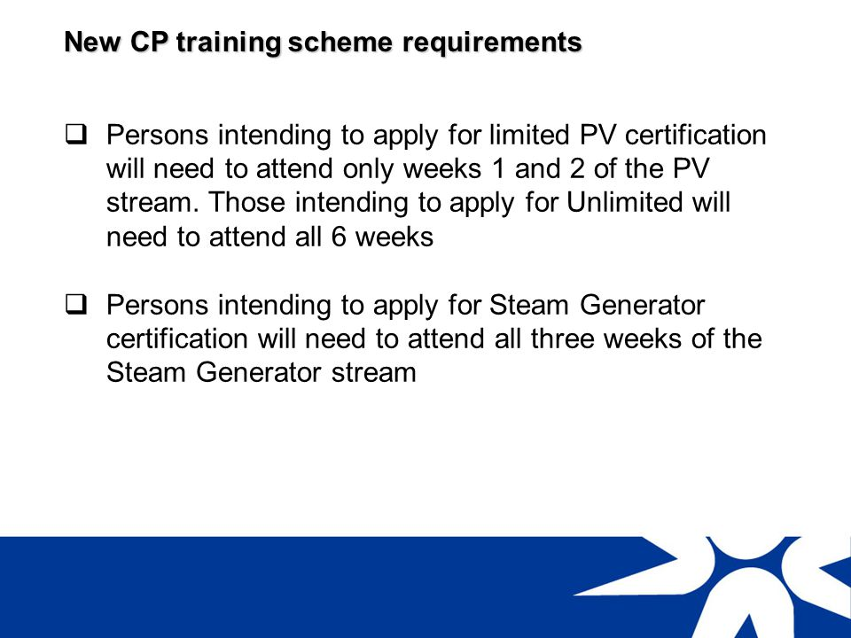 New CP training scheme requirements