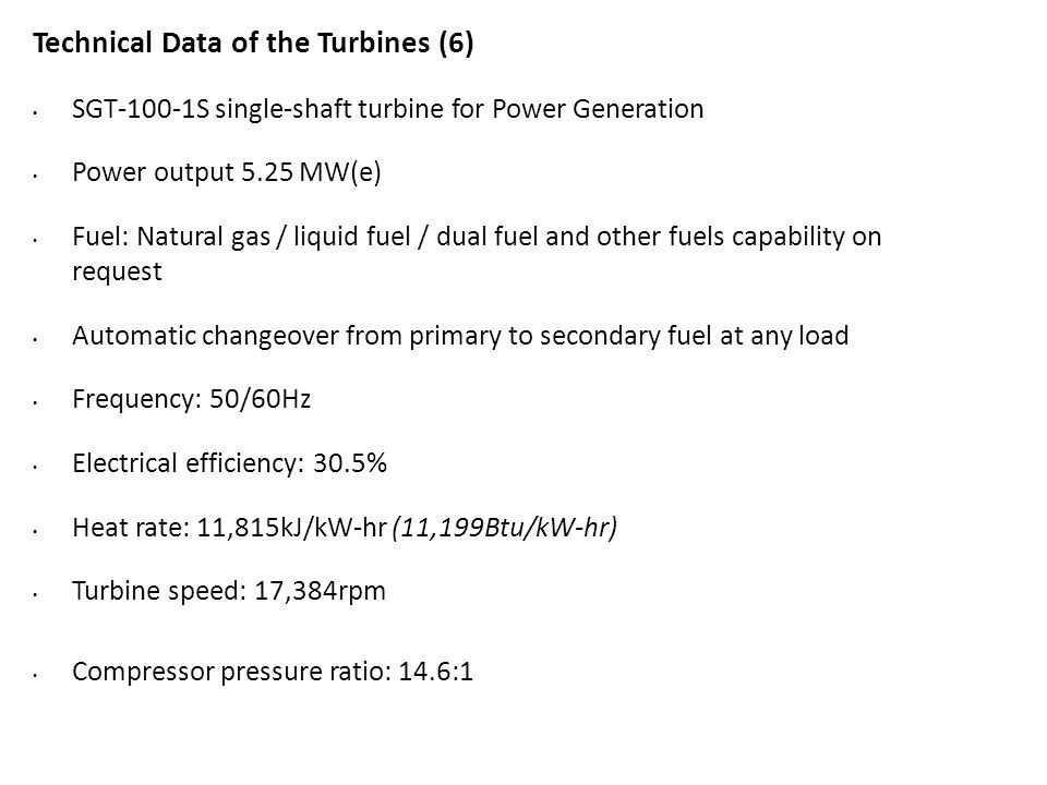 Technical Data of the Turbines (6)