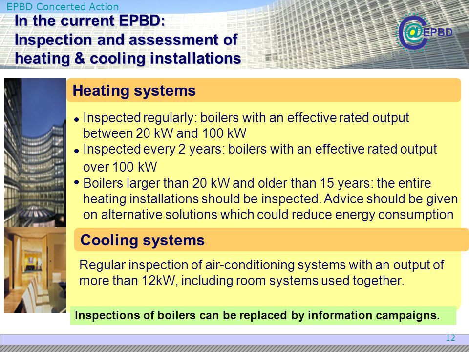 In the current EPBD: Inspection and assessment of heating & cooling installations