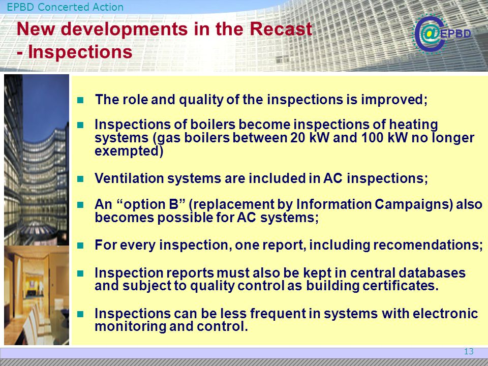 New developments in the Recast - Inspections