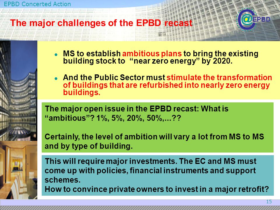 The major challenges of the EPBD recast