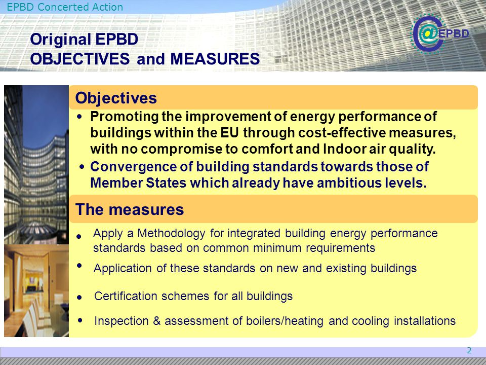 Original EPBD OBJECTIVES and MEASURES
