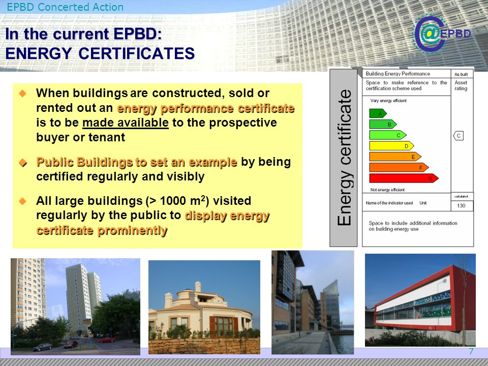 In the current EPBD: ENERGY CERTIFICATES