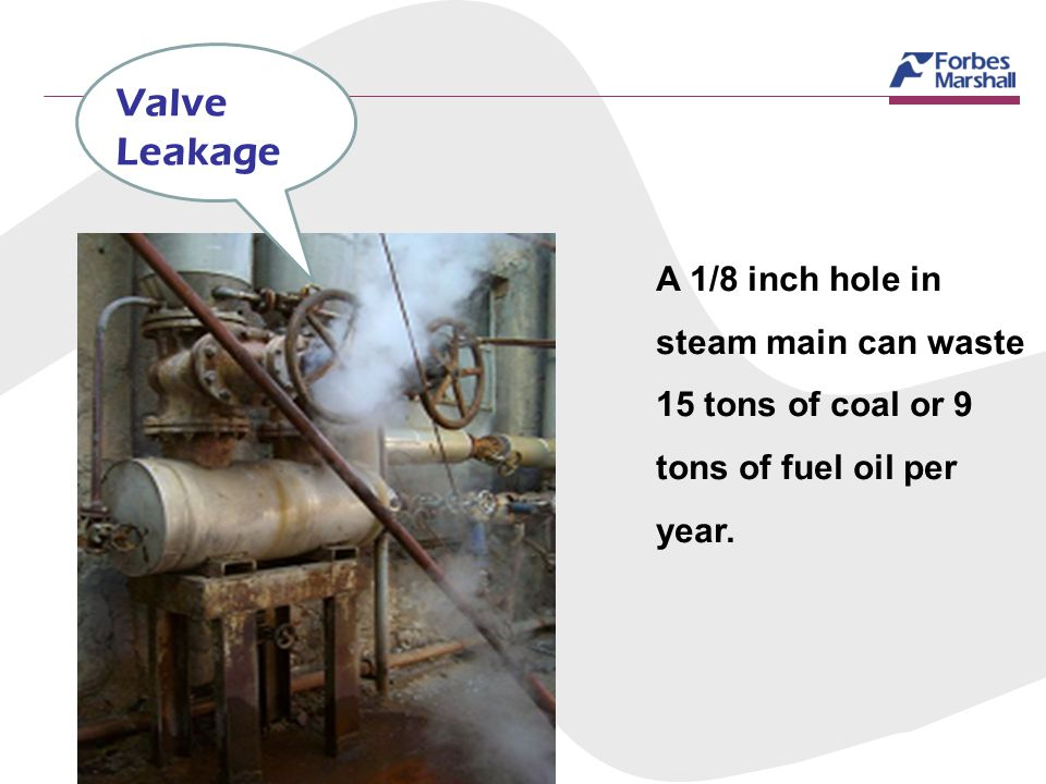 Valve Leakage A 1/8 inch hole in steam main can waste 15 tons of coal or 9 tons of fuel oil per year.