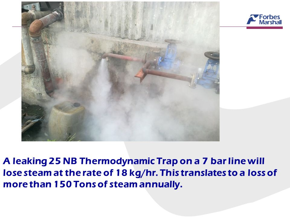 A leaking 25 NB Thermodynamic Trap on a 7 bar line will lose steam at the rate of 18 kg/hr.