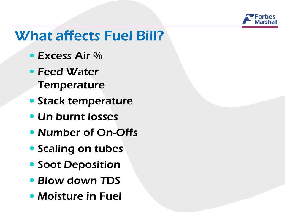 What affects Fuel Bill Excess Air % Feed Water Temperature