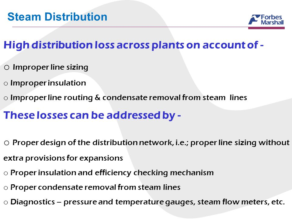 Steam Distribution High distribution loss across plants on account of - Improper line sizing. Improper insulation.