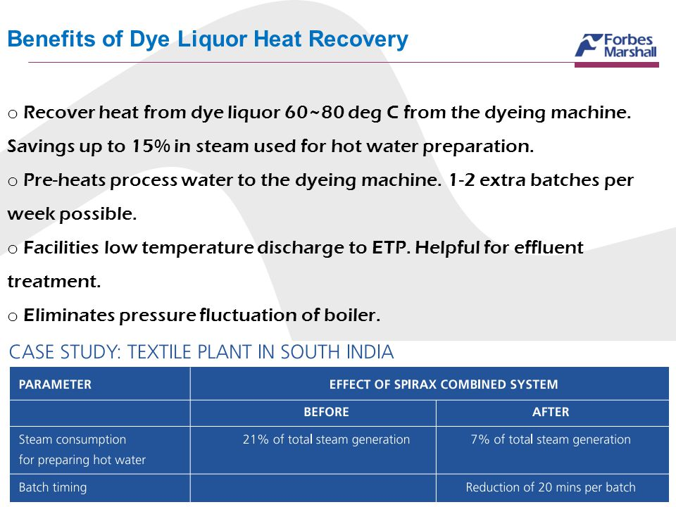 Benefits of Dye Liquor Heat Recovery