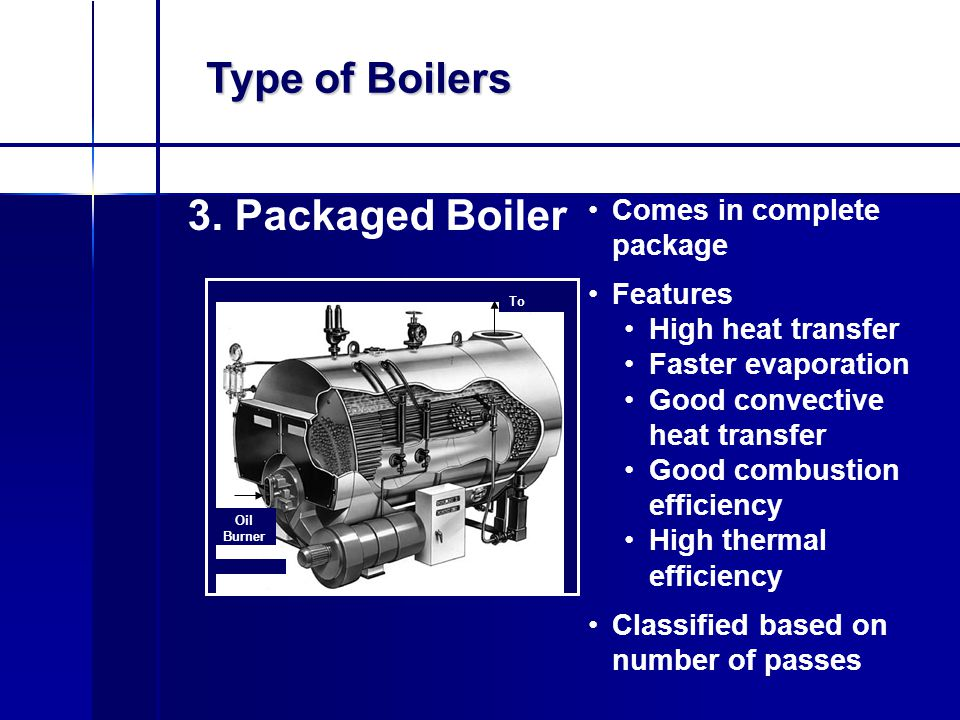 Type of Boilers 3. Packaged Boiler Comes in complete package Features