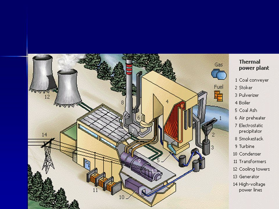 In a thermal power plant, steam is produced and used to spin a turbine that operates a generator.