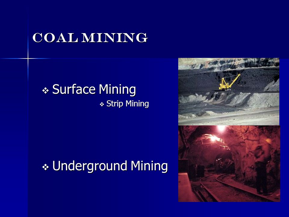 Coal Mining Surface Mining Strip Mining Underground Mining