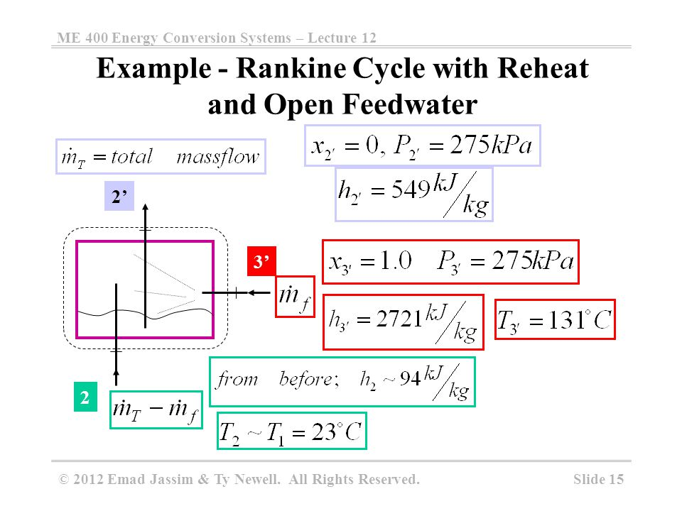 Example - Rankine Cycle with Reheat and Open Feedwater