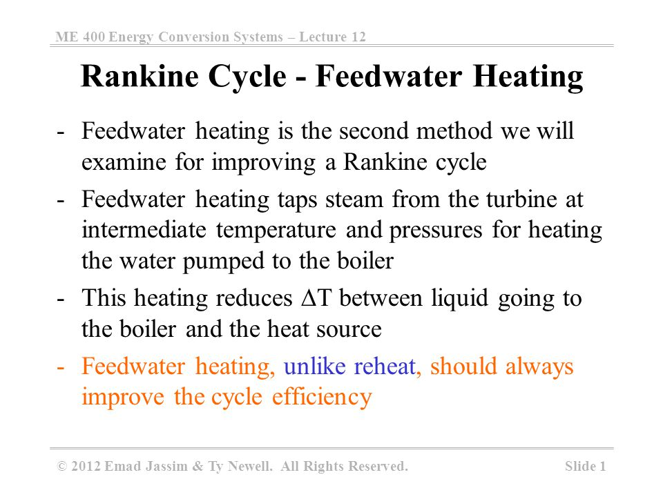 Rankine Cycle - Feedwater Heating