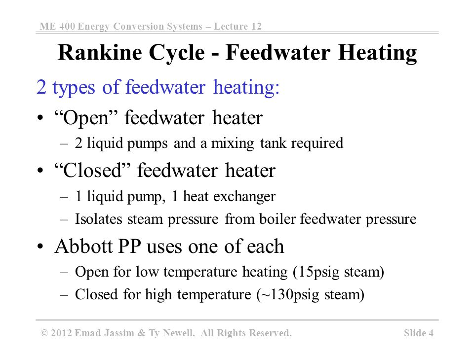 Rankine Cycle with Reheat and Open Feedwater