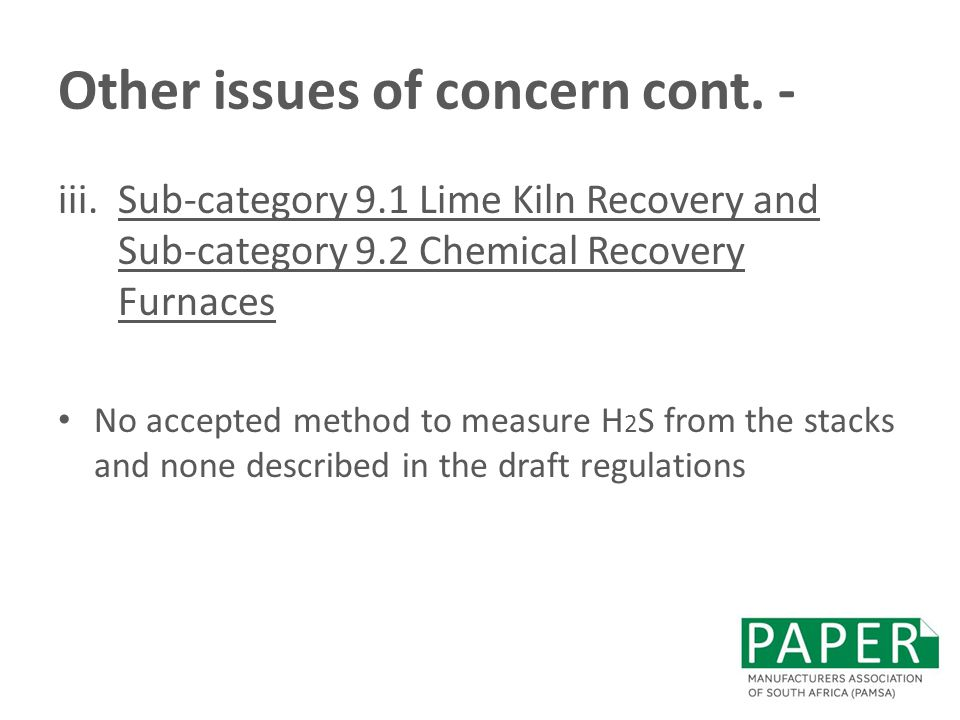 Other issues of concern cont. -
