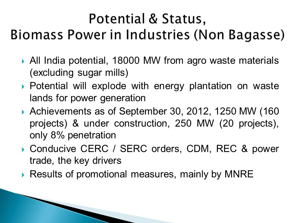 Potential & Status, Biomass Power in Industries (Non Bagasse)
