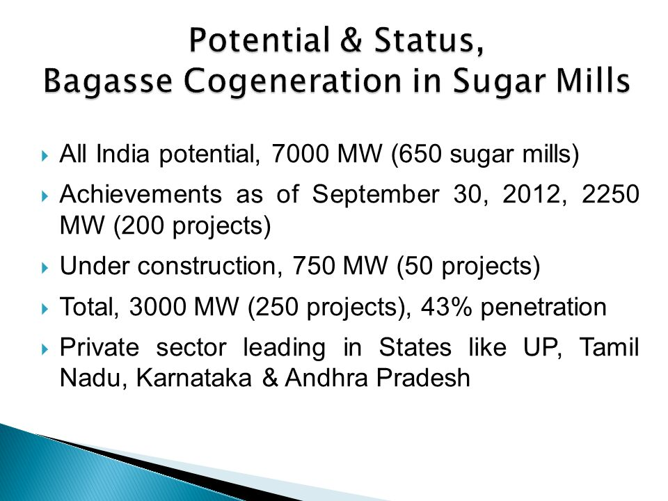 Potential & Status, Bagasse Cogeneration in Sugar Mills