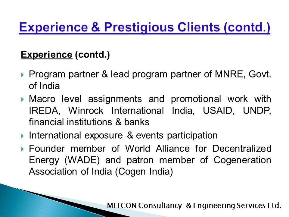 Experience & Prestigious Clients (contd.)