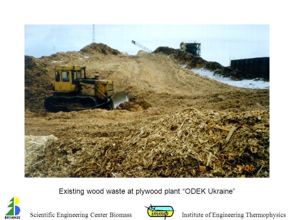 Existing wood waste at plywood plant ODEK Ukraine