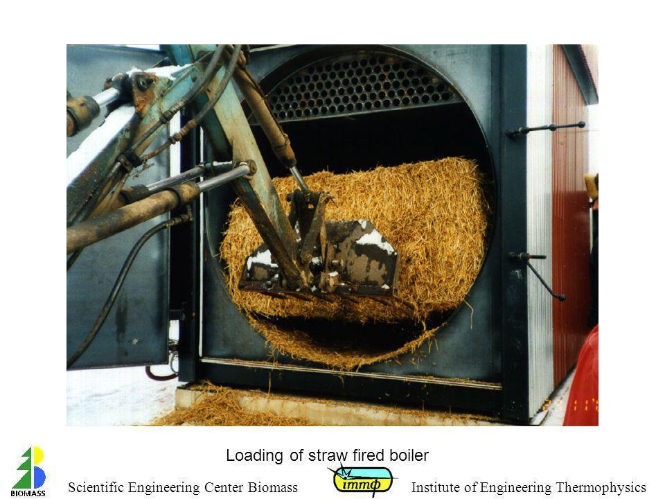 Loading of straw fired boiler